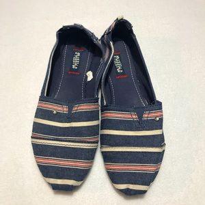MAD LOVE - Striped Slip On Flats - 11